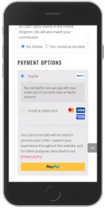 screenshot of woocommerce payment section on a mobile device